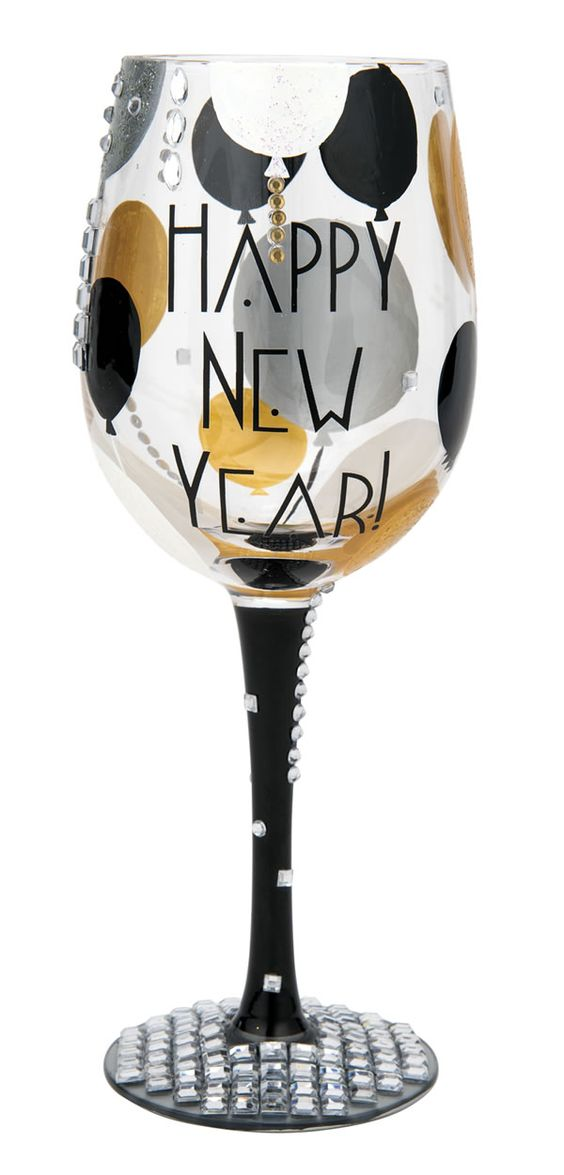 HAPPY NEW YEAR WINE GLASS