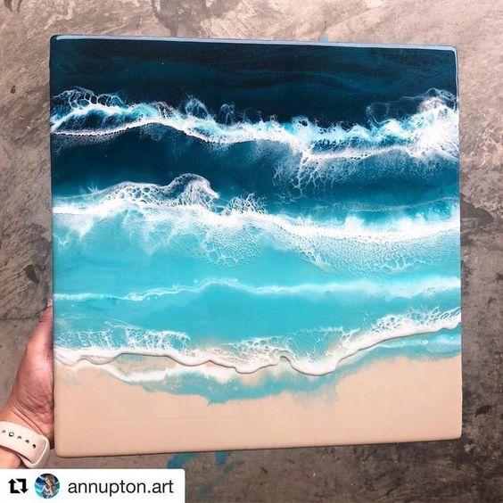 february beach resin canvas