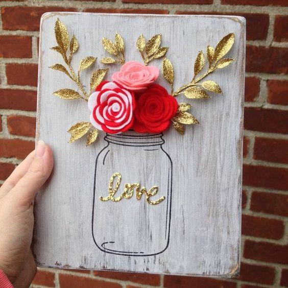 february- mason jar flower